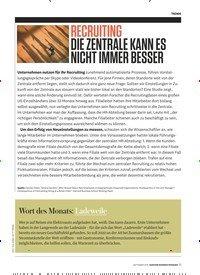 Titelbild der Ausgabe 9/2019 von RECRUITING DIE ZENTRALE KANN ES NICHT IMMER BESSER. Zeitschriften als Abo oder epaper bei United Kiosk online kaufen.
