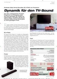 Titelbild der Ausgabe 6/2020 von Ton Soundbar: Schlanke Dolby Atmos Soundbar SC-HT600 von Panasonic: Dynamik für den TV-Sound. Zeitschriften als Abo oder epaper bei United Kiosk online kaufen.