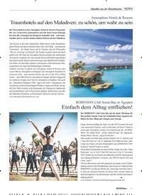 Titelbild der Ausgabe 3/2019 von Aktuelles aus der Reisebranche –NEWS: Atmosphere Hotels & Resorts: Traumhotels auf den Malediven: zu schön, um wahr zu sein. Zeitschriften als Abo oder epaper bei United Kiosk online kaufen.