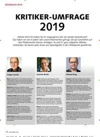 Titelbild der Ausgabe 1/2020 von RÜCKBLICK 2019: KRITIKER-UMFRAGE 2019. Zeitschriften als Abo oder epaper bei United Kiosk online kaufen.