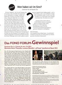 Titelbild der Ausgabe 4/2021 von Das FONO FORUM-Gewinnspiel. Zeitschriften als Abo oder epaper bei United Kiosk online kaufen.