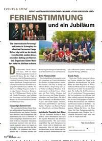 Titelbild der Ausgabe 6/2019 von REPORT »AUSTRIAN PERCUSSION CAMP« / 40 JAHRE »STUDIO PERCUSSION GRAZ« FERIENSTIMMUNG und ein Jubiläum. Zeitschriften als Abo oder epaper bei United Kiosk online kaufen.