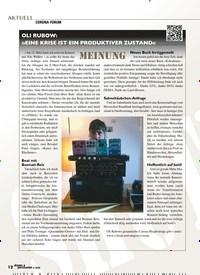 Titelbild der Ausgabe 4/2020 von OLI RUBOW: »EINE KRISE IST EIN PRODUKTIVER ZUSTAND«. Zeitschriften als Abo oder epaper bei United Kiosk online kaufen.