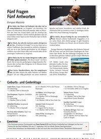 Titelbild der Ausgabe 10/2019 von Fünf Fragen Fünf Antworten: Enrique Mazzola. Zeitschriften als Abo oder epaper bei United Kiosk online kaufen.