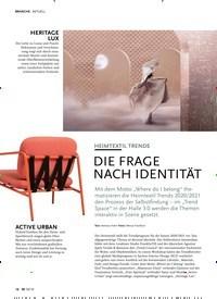 Titelbild der Ausgabe 10/2019 von AKTUELL: HEIMTEXTIL TRENDS: DIE FRAGE NACH IDENTITÄT. Zeitschriften als Abo oder epaper bei United Kiosk online kaufen.