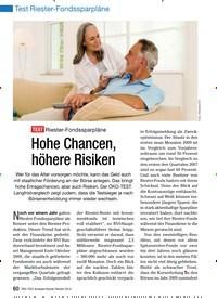 Titelbild der Ausgabe 1/2010 von Test Riester-Fondssparpläne: TEST Riester-Fondssparpläne: Hohe Chancen, höhere Risiken. Zeitschriften als Abo oder epaper bei United Kiosk online kaufen.
