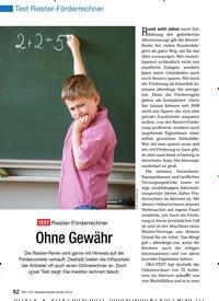 Titelbild der Ausgabe 1/2010 von Test Riester-Förderrechner: TEST Riester-Förderrechner: Ohne Gewähr. Zeitschriften als Abo oder epaper bei United Kiosk online kaufen.