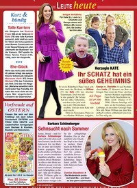 Titelbild der Ausgabe 9/2020 von Leute heute: Herzogin KATE: Ihr SCHATZ hat ein süßes GEHEIMNIS. Zeitschriften als Abo oder epaper bei United Kiosk online kaufen.