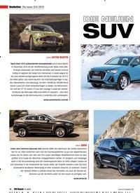 Titelbild der Ausgabe 1/2019 von Neuheiten Die neuen SUV 2019. Zeitschriften als Abo oder epaper bei United Kiosk online kaufen.