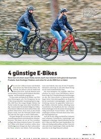 Titelbild der Ausgabe 1/2019 von 4 günstige E-Bikes. Zeitschriften als Abo oder epaper bei United Kiosk online kaufen.