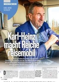 Titelbild der Ausgabe 23/2019 von MENSCHEN: KARL-HEINZ SCHULER: Karl-Heinz macht Reiche reisemobil. Zeitschriften als Abo oder epaper bei United Kiosk online kaufen.