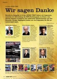 Titelbild der Ausgabe 6/2019 von 10 Jahre AUDIO TEST: Wir sagen Danke. Zeitschriften als Abo oder epaper bei United Kiosk online kaufen.