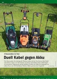 Titelbild der Ausgabe 1/2019 von 4 Rasenmäher Im Test : Duell Kabel gegen Akku. Zeitschriften als Abo oder epaper bei United Kiosk online kaufen.