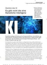 Titelbild der Ausgabe 10/2019 von Überblick über KI Es gibt nicht die eine Künstliche Intelligenz. Zeitschriften als Abo oder epaper bei United Kiosk online kaufen.