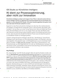 Titelbild der Ausgabe 10/2019 von IDC-Studie zur Künstlichen Intelligenz KI dient zur Prozessoptimierung, aber nicht zur Innovation. Zeitschriften als Abo oder epaper bei United Kiosk online kaufen.