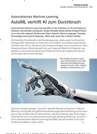 Titelbild der Ausgabe 10/2019 von Automatisches Machine Learning AutoML verhilft KI zum Durchbruch. Zeitschriften als Abo oder epaper bei United Kiosk online kaufen.