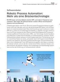 Titelbild der Ausgabe 12/2019 von Softwareroboter: Robotic Process Automation: Mehr als eine Brückentechnologie. Zeitschriften als Abo oder epaper bei United Kiosk online kaufen.