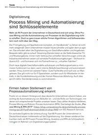 Titelbild der Ausgabe 12/2019 von Digitalisierung: Process Mining und Automatisierung sind Schlüsselelemente. Zeitschriften als Abo oder epaper bei United Kiosk online kaufen.