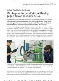 Titelbild der Ausgabe 12/2019 von Virtual Reality im Business: Mit Augmented und Virtual Reality gegen Silver Tsunami & Co.. Zeitschriften als Abo oder epaper bei United Kiosk online kaufen.
