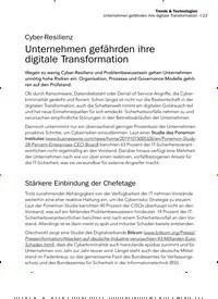 Titelbild der Ausgabe 2/2020 von Cyber-Resilienz: Unternehmen gefährden ihre digitale Transformation. Zeitschriften als Abo oder epaper bei United Kiosk online kaufen.