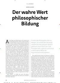 Titelbild der Ausgabe 2/2018 von GEORG PLATZER: Der wahre Wert philosophischer Bildung. Zeitschriften als Abo oder epaper bei United Kiosk online kaufen.