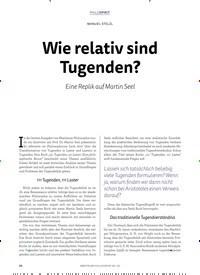 Titelbild der Ausgabe 2/2018 von MANUEL STELZL: Wie relativ sind Tugenden?. Zeitschriften als Abo oder epaper bei United Kiosk online kaufen.