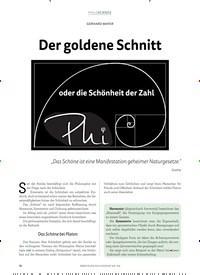 Titelbild der Ausgabe 4/2018 von GERHARD MAYER: Der goldene Schnitt. Zeitschriften als Abo oder epaper bei United Kiosk online kaufen.