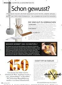 Titelbild der Ausgabe 2/2019 von MAGAZIN / SCHNITZEL & GESCHNETZELTES: Schon gewusst?. Zeitschriften als Abo oder epaper bei United Kiosk online kaufen.