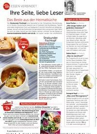 Titelbild der Ausgabe 4/2019 von ESSEN VERBINDET: Ihre Seite, liebe Leser Das Beste aus der Heimatküche. Zeitschriften als Abo oder epaper bei United Kiosk online kaufen.