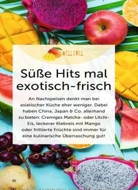 Titelbild der Ausgabe 4/2019 von Süße Hits mal exotisch-frisch. Zeitschriften als Abo oder epaper bei United Kiosk online kaufen.