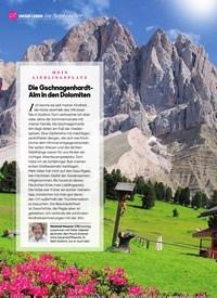 Titelbild der Ausgabe 9/2020 von UNSER LEBENim September: MEIN LIEBLINGSPLATZ: Die Gschnagenhardt-Alm in den Dolomiten. Zeitschriften als Abo oder epaper bei United Kiosk online kaufen.