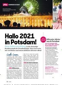Titelbild der Ausgabe 11/2020 von LESERREISE POTSDAM: Hallo 2021 in Potsdam!. Zeitschriften als Abo oder epaper bei United Kiosk online kaufen.