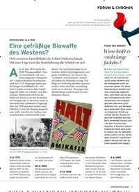 Titelbild der Ausgabe 6/2020 von FORUM & CHRONIK: ZEITZEICHEN: 16. 6. 1950: Eine gefräßige Biowaffe des Westens?. Zeitschriften als Abo oder epaper bei United Kiosk online kaufen.
