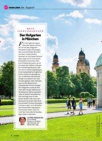 Titelbild der Ausgabe 8/2020 von UNSER LEBEN im AugustMEIN LIEBLINGSPLATZ: Der Hofgarten in Munchen. Zeitschriften als Abo oder epaper bei United Kiosk online kaufen.