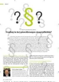 Titelbild der Ausgabe 8/2020 von RECHTLICHE BEURTEILUNGEN: Trading in Kryptowährungen steuerpflichtig?. Zeitschriften als Abo oder epaper bei United Kiosk online kaufen.