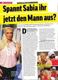 Titelbild der Ausgabe 39/2018 von DANIELA KATZENBERGER: Spannt Sabia ihr jetzt den Mann aus?. Zeitschriften als Abo oder epaper bei United Kiosk online kaufen.