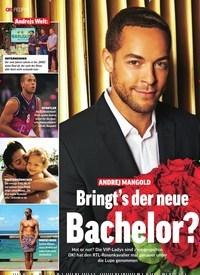 Titelbild der Ausgabe 51/2018 von Andrejs Welt: ANDREJ MANGOLD: Bringt's der neue Bachelor?. Zeitschriften als Abo oder epaper bei United Kiosk online kaufen.