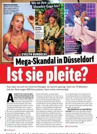 Titelbild der Ausgabe 16/2019 von EVELYN BURDECKI: Mega-Skandal in Düsseldorf Ist sie pleite?. Zeitschriften als Abo oder epaper bei United Kiosk online kaufen.