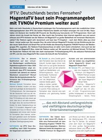 Titelbild der Ausgabe 1/2021 von Interview mit der Telekom: IPTV: Deutschlands bestes Fernsehen?: MagentaTV baut sein Programmangebot mit TVNOW Premium weiter aus!. Zeitschriften als Abo oder epaper bei United Kiosk online kaufen.
