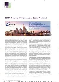 Titelbild der Ausgabe 2/2019 von EBMT-Kongress 2019 erstmals zu Gast in Frankfurt. Zeitschriften als Abo oder epaper bei United Kiosk online kaufen.