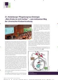 """Titelbild der Ausgabe 3/2019 von 21. Heidelberger Pflegekongress Onkologie """"Mein Krebs ist nicht heilbar"""" – vom mühsamen Weg der chronischen Krebserkrankung. Zeitschriften als Abo oder epaper bei United Kiosk online kaufen."""