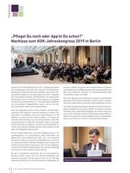 """Titelbild der Ausgabe 4/2019 von """"Pflegst Du noch oder App'st Du schon?"""" Nachlese zum KOK-Jahreskongress 2019 in Berlin. Zeitschriften als Abo oder epaper bei United Kiosk online kaufen."""