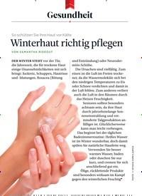 Titelbild der Ausgabe 12/2018 von Gesundheit: So schützen Sie Ihre Haut vor Kälte: Winterhaut richtig pflegen. Zeitschriften als Abo oder epaper bei United Kiosk online kaufen.