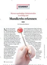 Titelbild der Ausgabe 7/2019 von GESUNDHEIT: Mundkrebs erkennen. Zeitschriften als Abo oder epaper bei United Kiosk online kaufen.