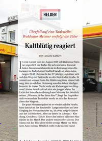 Titelbild der Ausgabe 12/2019 von HELDEN: Kaltblütig reagiert. Zeitschriften als Abo oder epaper bei United Kiosk online kaufen.