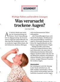 Titelbild der Ausgabe 5/2020 von GESUNDHEIT: Was verursacht trockene Augen?. Zeitschriften als Abo oder epaper bei United Kiosk online kaufen.