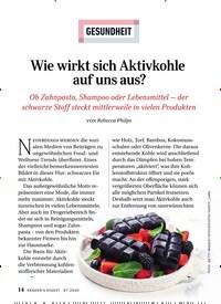 Titelbild der Ausgabe 7/2020 von GESUNDHEIT: Wie wirkt sich Aktivkohle auf uns aus?. Zeitschriften als Abo oder epaper bei United Kiosk online kaufen.