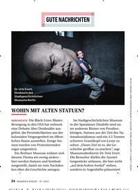 Titelbild der Ausgabe 1/2021 von GUTE NACHRICHTEN: WOHIN MIT ALTEN STATUEN?. Zeitschriften als Abo oder epaper bei United Kiosk online kaufen.