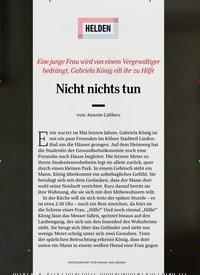 Titelbild der Ausgabe 6/2019 von HELDEN: Eine junge Frau wird von einem Vergewaltiger bedrängt. Gabriela König eilt ihr zu Hilfe: Nicht nichts tun. Zeitschriften als Abo oder epaper bei United Kiosk online kaufen.