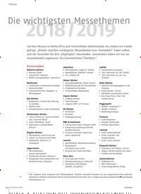 Titelbild der Ausgabe 11/2018 von Die wichtigsten Messethemen: 2018 / 2019. Zeitschriften als Abo oder epaper bei United Kiosk online kaufen.